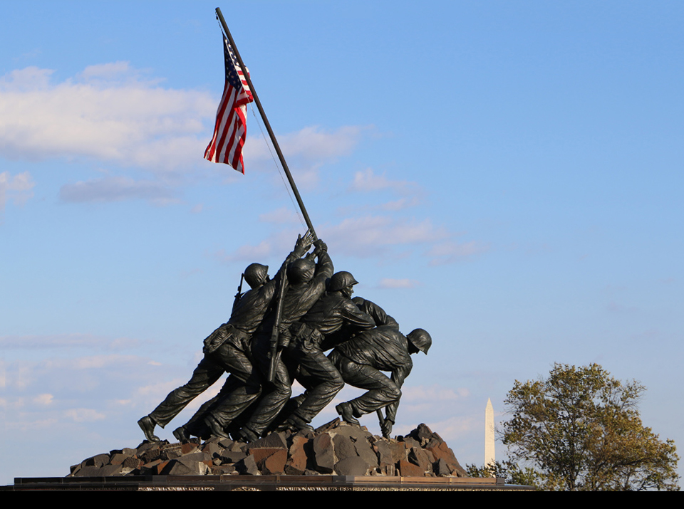 The Marine Corp War Memorial in Washington, D.C is a military memorial of all personnel of the United States Marine Corps who have killed since 1775