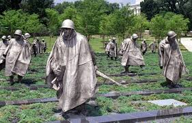 The Korean War Veterans Memorial is located in Washington, D.C. It was set up to commemorate those who served in the Korea War.