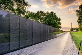 The Vietnam Veterans Memorial Wall in Washington DC honors the fallen of the Vietnam War and missing soldiers during the war.